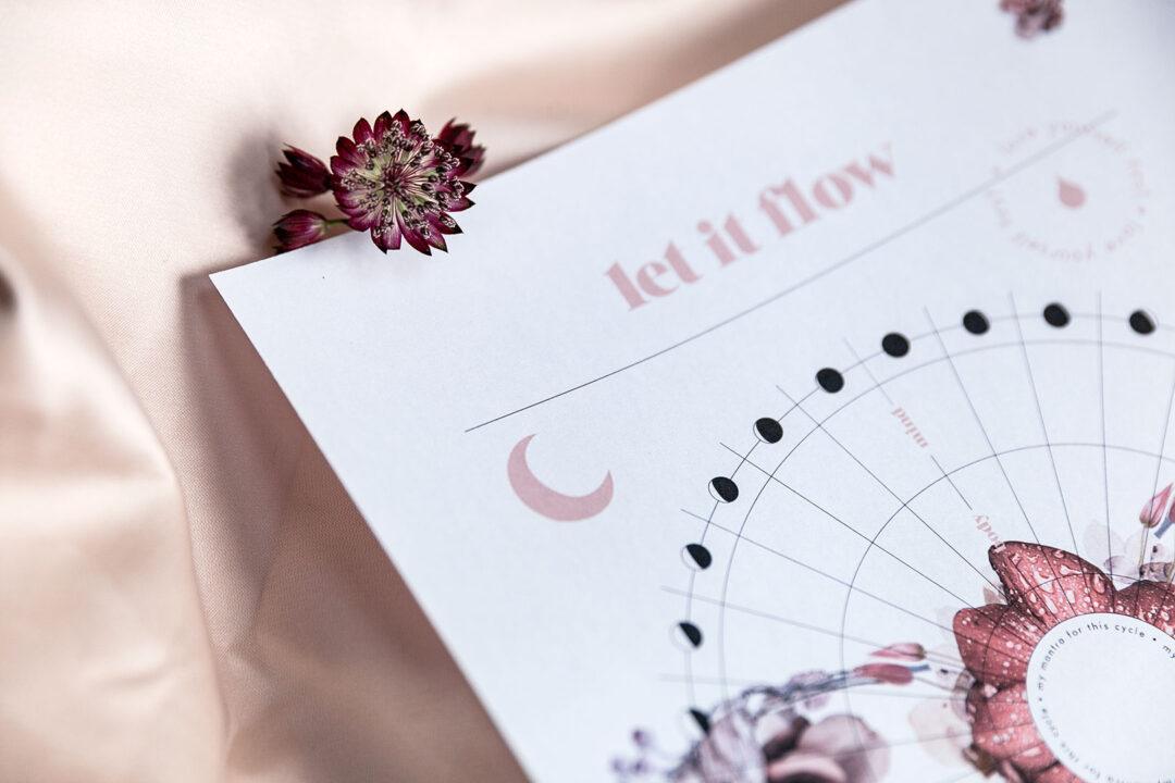 Let it flow kuukautistracker – kierto valkoinen | tulostettava 6