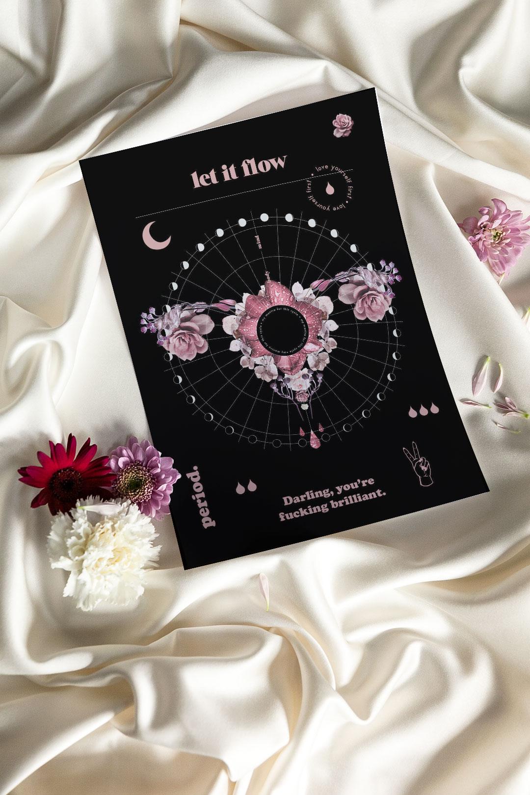 Let it flow kuukautistracker – kierto musta | tulostettava