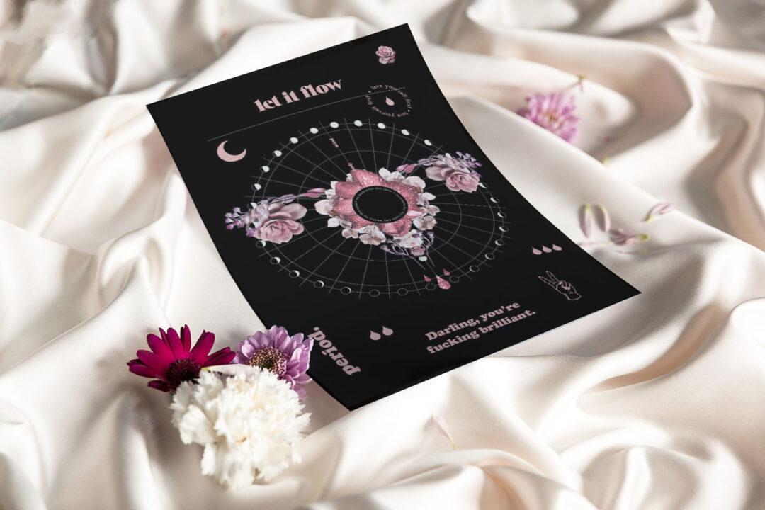 Let it flow kuukautistracker – kierto musta | tulostettava 3